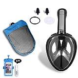 Máscara de Snorkel para Adultos, Vista Panorámica de 180 ° de Cara Completa de KUYOU Diseño de Respiración Fácil y Libre Tecnología de Anti-Niebla y Antifugas para Buceo de Superficie Máscara de Natación de Snorkeling Compatible con Cámara GoPro