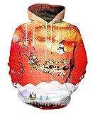 EOWJEED Unisex Realistische 3D Digital Pullover Sweatshirt Weihnachten Hoodie Mit Kapuze Sweatshirt Taschen Kleine