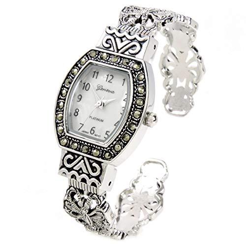 STC Damen-Armbanduhr, rechteckig, Markasit, Vintage-Design, silberfarben/Schwarz