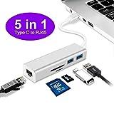 USB C-Hub, 5 in 1 Typ C zu RJ45 Gigabit Ethernet LAN Netzwerk Hub, mit Typ-C zu RJ45, 2 USB 3.0 und SD / TF Kartenleser Hub, Aluminiumlegierung Shell Adapter (silber)