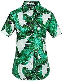 SSLR Women's Banana Leaves Casual Tropical Aloha Hawaiian Shirt