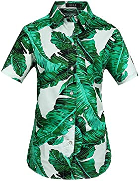 SSLR Camisa Hawaiana Aloha Manga Corta Palmera Hoja para Mujer