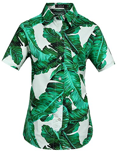 SSLR-Camisa-Hawaiana-Aloha-Manga-Corta-Palmera-Hoja-para-Mujer-X-Large-Verde
