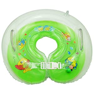 ForuMall Adjustable Inflatable Baby Newborn Swim Swimming Bath Ring Security Safety Aid Float, Fit for 0 months to 18 months (Green)