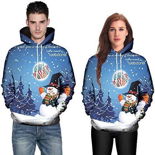 Yumimi Herren Langarmshirt Sweatshirt, Weihnachten 9D Printing Paar-Tasche Mit Kapuze Kordelzug Pullover Langarm-Shirt Jacke,Tops T-Shirts Hemden Poloshirts Bekleidung