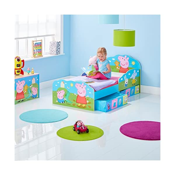 HelloHome Peppa Pig Toddler Bed with Underbed Storage, Wood, Multi, 142 x 77 x 63 cm  Perfect for transitioning your little one from cot to first big bed The perfect size for toddlers, low to the ground with protective side guards to keep your little one safe and snug Two handy underbed, fabric storage drawers 3
