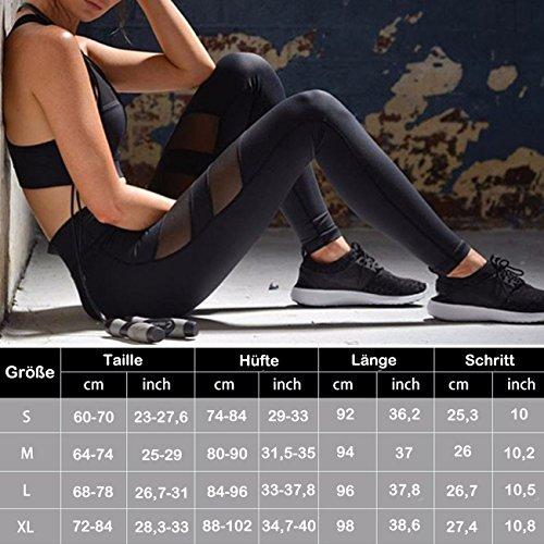 Modische Mesh Leggings Fitness Hosen Gaze Yoga Pants Hoher Bund Joggen Leggings Sportbekleidung Workout Schwarz Schwarz