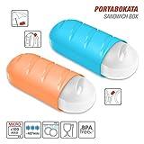 TATAY 1167000/3 Lote 2 Porta bocadillos extensibles y ecologicos en color Azul y Naranja