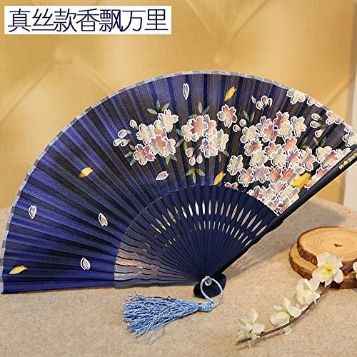 XIAOHAIZI Handklappventilator,Cherry Blossom Dark Blue Hollow Summer Folding Fan Chinese Classical Ladies Wall Decoration Dance Fan