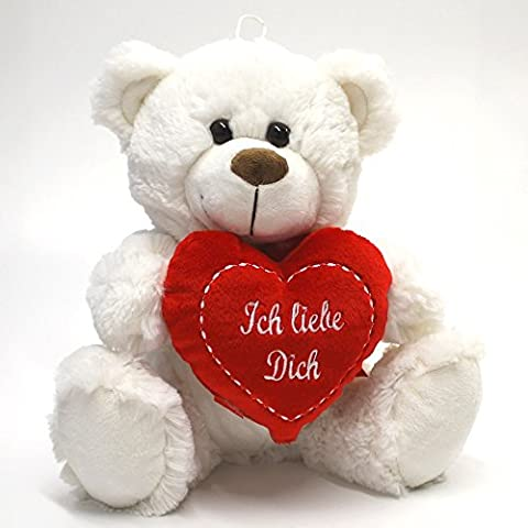 Oso de peluche oso de peluche oso de peluche blanco en forma de corazón con corazón 25 cm Eisbär