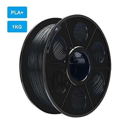 ELUTENG Drucker Filament PLA+ Schwarz 1.75KG 3D Filament Rolle 3D Drucker Material Black für 3D Printing Pen PLA Plus Spule für Makerbot, RepRap, Minadax, Ultimaker, ANET A3, ANET A6, ANET A8