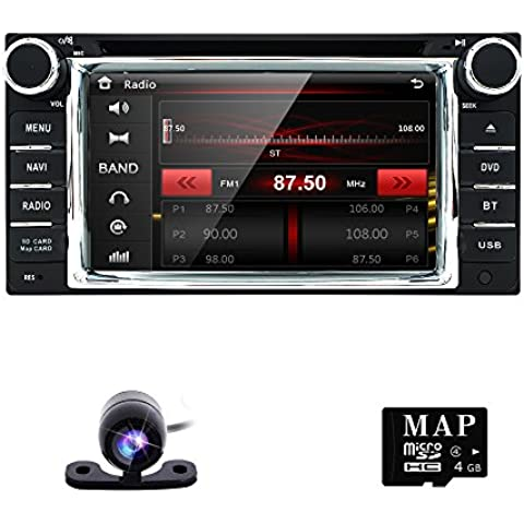 HIZPO Car in Dash Stereo 2Din GPS DVD Player Navigation Radio support BT/SWC/Rear camera/Subwoofer fit for TOYOTA with Reverse Camera 8GB Card