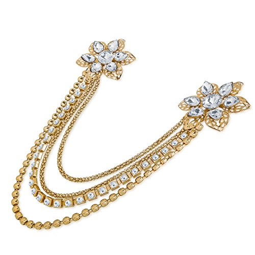 The Luxor Golden Floral Patteren Saree Brooch For Women (ACC6133)