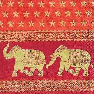 Ihr Servietten 20Stück/Servietten-Indischen Elefanten-33cm x 33cm-3-lagig