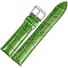 20 mm orologio in pelle verde sostituzione banda cinturino in alligatore imbottito grana classica fibbia ad ardiglione