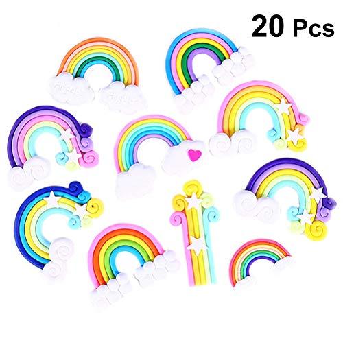 Healifty 20 stücke Polymer Clay Regenbogen Haarschmuck Haarspangen Dekor Zubehör für DIY Mobile Shell Zubehör