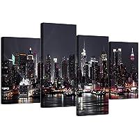"""Juego de 4 lienzos, diseño de Nueva York con texto """"Skyline"""" (tamaño XL, 130 cm de ancho)"""