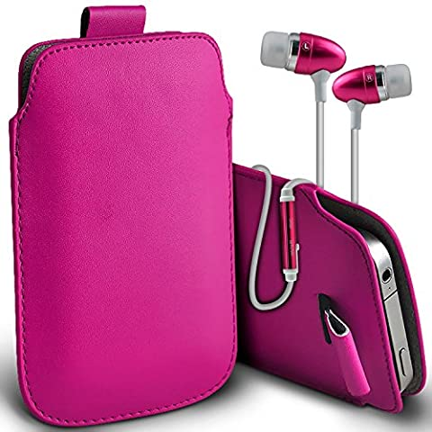 ( Hot Pink + Ear phone ) TTfone Star Case Premium Stylish Faux Leather Pull Tab Pouch Skin Case Cover Various Colours To Choose From With High Quality Fitted in Ear Buds Stereo Hands Free Headphones Headset with Built in Micro phone Mic and On-Off Button by i-Tronixs