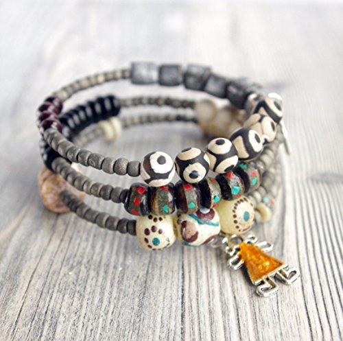 bracelet-agate-perle-dzi-bijou-style-tibetain-bois-de-santal-fil-memoire-de-forme-3-tours-couleur-no