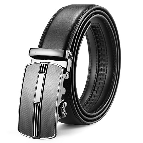 MUCO Herren Gürtel Bedruckte Ledergürtel für Männer mit Automatik Gürtel Reversible Leder Breiter Gürtel Automatik Schnalle, X-Large(130CM), schwarz (Reversible Gürtel Herren)