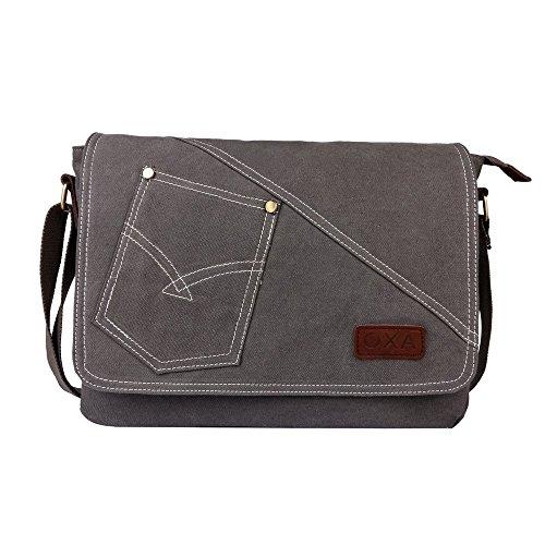 Ossa-Military-Borsa Messenger a tracolla in tela per donne e ragazze, adatto come cartella, borsa per Apple ipad-Borsa a tracolla, borsa a tracolla da viaggio, borsa, zaino per la scuola, borsa da lavoro Grigio Grigio