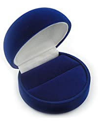 Dark Blue Velour Round Ring Jewellery Box