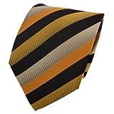 Corbata en oro amarillo naranja negro rayas
