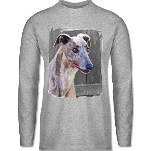 Shirtracer Hunde - Windhund - Herren Langarmshirt Grau Meliert