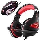 Gaming-Headset mit Maus, Pro Gaming Headset für Xbox One, PS4, PC, Laptop mit Mikrofon, Geräuschunterdrückung, LED Over-Ear-Kopfhörer, 4000 dpi, verkabelt, ergonomische Gaming-Maus, 4 einstellbare DPI mit 6 Tasten