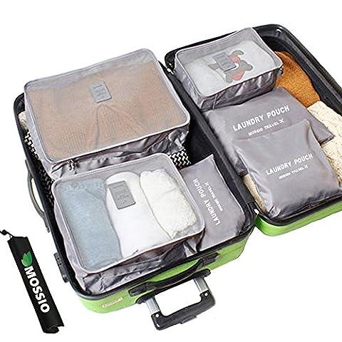 Mossio 7 Set emballage Cubes avec Shoe Bag - Compression Voyage bagages Organisateur (Gris)