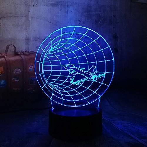 Erstaunliche Zeit Maschine 3D 7 Farbwechsel Nachtlicht Flugzeug Crossing Schreibtischlampe Farbverlauf Freund Familie Kind Geburtstagsgeschenk -