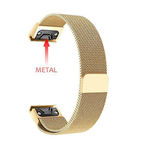 New Milanese Magnetic Loop Edelstahlband für Garmin Fenix 5 Plus Uhr Milanese Ersatz Fitness Armbänder Voll Einstellbare Metall Wristband mit Starkem Magneten Sperren Klein Groß ()