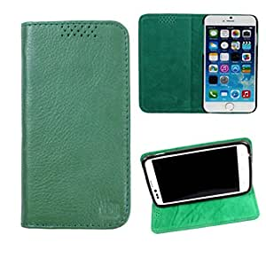 DooDa Genuine Leather Flip Case Cover For Motorola Moto G (2nd Gen) (Green)