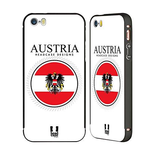 Head Case Designs Israelische Fahne Fahnen Flicken Schwarz Rahmen Hülle mit Bumper aus Aluminium für Apple iPhone 5 / 5s / SE Österreichische Fahne