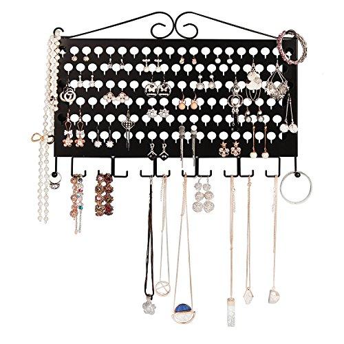 JackCubeDesign Wandhalterung Ohrring Schmuckhalter Organizer Halter Halskette Armband-Rack-Speicher Display-Ständer Eisen mit 117 Löchern / 12 Haken (Schwarz, 42 x 31 x 1,9 cm) -: MK319A (Schwarz Speicher-rack)