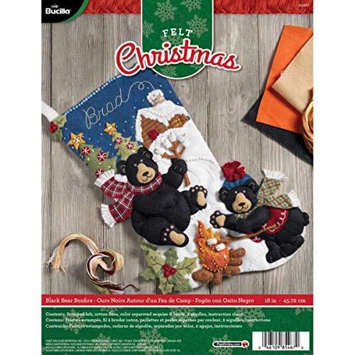 Bucilla 18Weihnachtsstrumpf-Applikation aus Filz, 85467schwarz Bär Bonfire (Weihnachtsstrumpf Filz Kit)