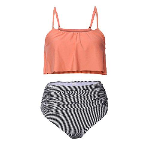 Frau Bademode 2 Stück Tankini Badeanzug hoch tailliert Schwimmen Anzüge Badeanzüge Bikini Strandkleidung (Orange-XXL (US (18-20)) (Stück Sie Schneiden Ein Schwimmen)