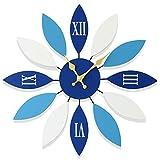 ZHEBAO Mediterrane Wanduhr Modernen Minimalistischen Retro Kreative Uhr Kunst Persönlichkeit Stumm Wohnzimmer Schlafzimmer Dekoration (24 * 24 * 1,8) Zoll,Blue,60 * 60 * 4.5