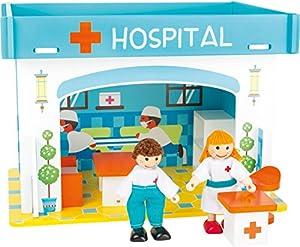 Small Foot 10857 - Casa de juegos de madera para enchufar, incluye muebles, muñecas flexibles y coloridos muebles impresos, construcción adaptable a los niños, pequeña casa de muñecas apta para niños a partir de 3 años