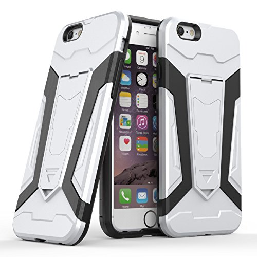 Apple iPhone 6/6S 4.7 Coque, Voguecase [Armure Series] 2 in 1 Shockproof Hybrid Doux TPU and Hard PC Rugged Protective Rigide Plastique Shell Housse Coque Étui Avec Built-in KickSupporter(Vert) de Gra Argent