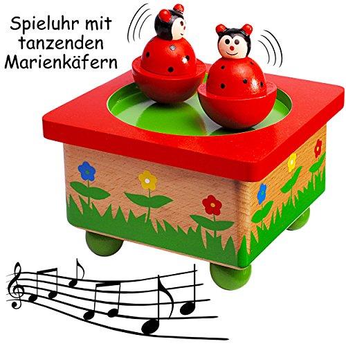 Unbekannt Spieluhr magisch Marienkäfer Musikbox Spieldose Kinder Holz Musikspieluhr magnetisch Tiere gepunktet