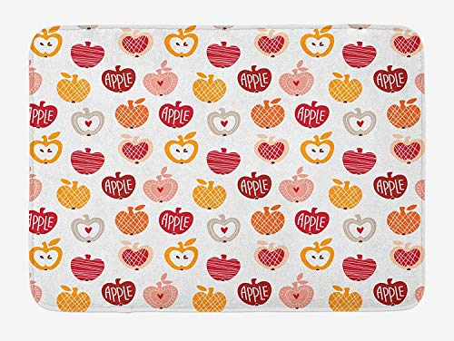 Apple Bath Mat, Vegetarian Abstract Horizontal and Diagonal Line Pattern Love Natural Food Theme, Plush Bathroom Decor Mat with Non Slip Backing, 15.7X23.6 inch, Amber Blush Red (Set Blush Amber)