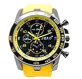 Ularma Moda Acero inoxidable de hombres modernos lujo Sport de cuarzo analogico reloj de muñeca de moda (amarillo)