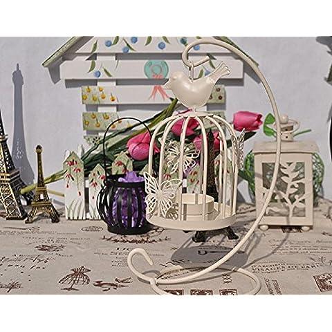 GYN Decoraciones de escritorio Europea hierro Retro hueco pájaro jaula mariposa vela titular creativo de inicio , white