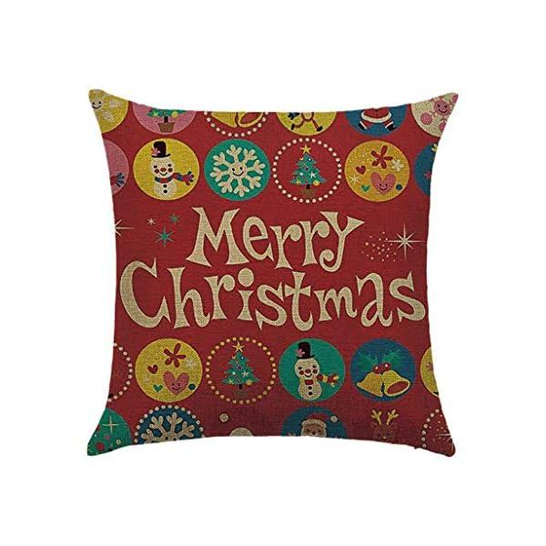 IJKLMNOP Christmas Pillow 45x45cm Funda de Almohada de Lino Cojín Cuadrado Adecuado para oficinas, familias, automóviles… 3