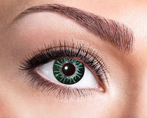 Natürliche, farbige Kontaktlinse dunkelgrün-mint-türkis, Jahreslinse, 14,5 mm ohne Dioptrin