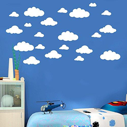 QHJ Aufkleber,31 Pcs DIY Große Wolken Wandtattoos Kinderzimmer Dekoration Kunst Baiyun Geschnitzte Wandaufkleber -