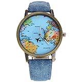 mmrm Mini Weltkarte Flugzeug Elektronische Armbanduhr Denim Leder Band Armbanduhr für Herren, blau