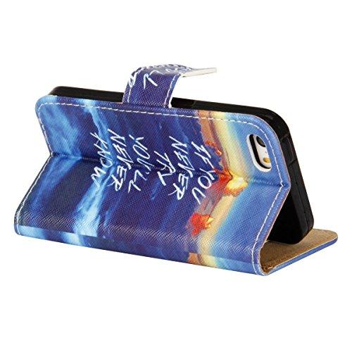 Etsue Bunte Retro für iPhone 6 Plus/6S Plus Schutz Hülle Leder Flip Case, [Löwenzahn Baum] Wallet Case Bookstyle PU Leder Brieftasche Hülle Handyhülle Leder Tasche Case Cover Etui Flip Cover Handytasc Sonne Ozean Wasser