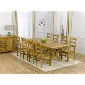 Ashley Solid Oak Extending Dining Table 8 Valencia Timber Chairs Set